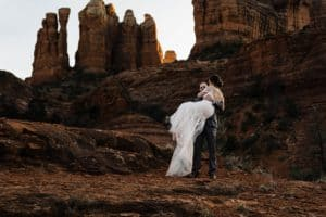 Couple at Sedona Elopement with Photographer Roy Serafin