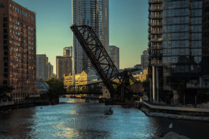 Chicago river engagement photography
