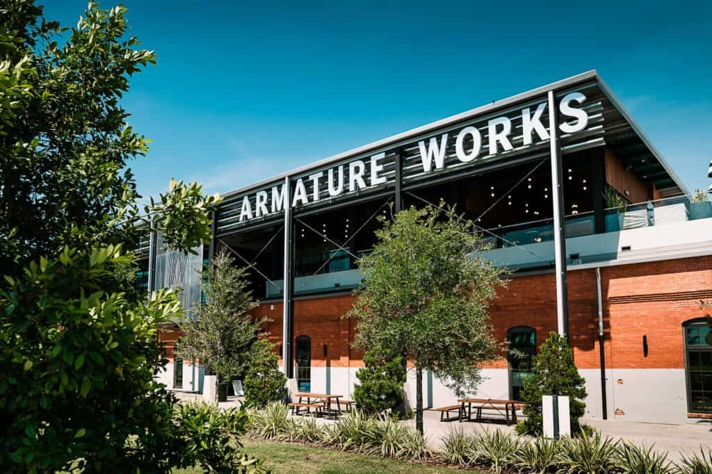 The front of Armature works wedding venue in Tampa right off of the Tampa Riverwalk.