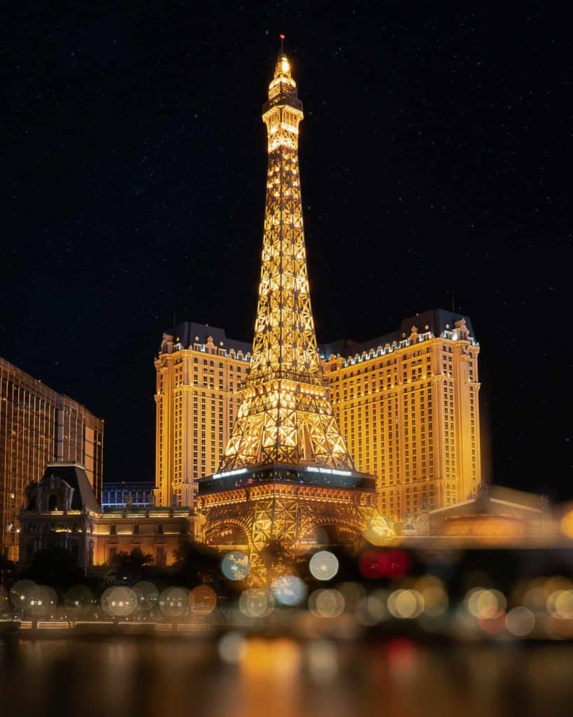 The Paris hotel in Las Vegas at night.