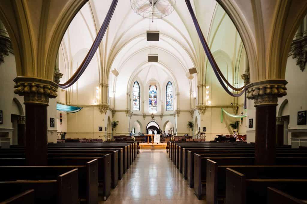 empty ceremony space for a catholic wedding