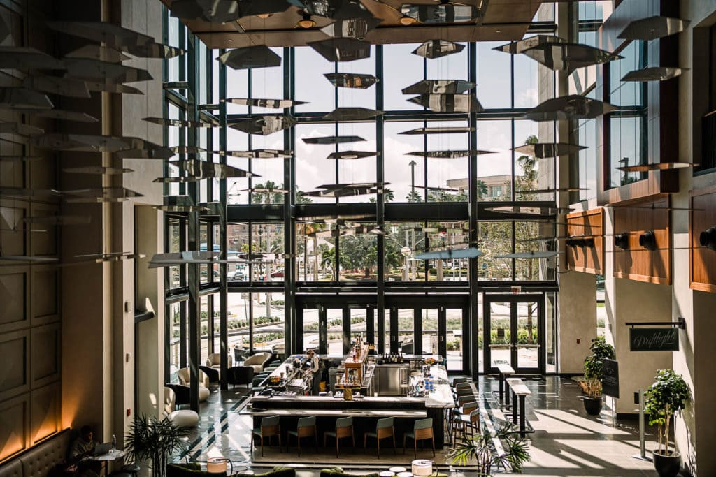A photo of the bar at the JW Marriott Tampa Water Street  a luxury hotel wedding venue in downtown Tampa.